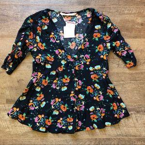 NWT ZARA Floral Half Sleeve Peplum Shirt
